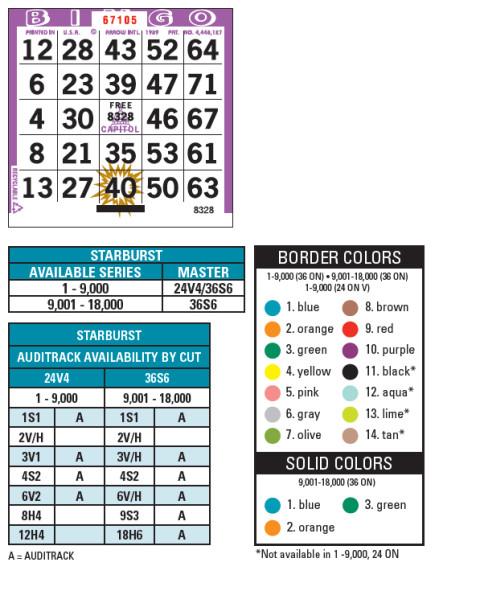 Capitol Starburts Bingo Paper