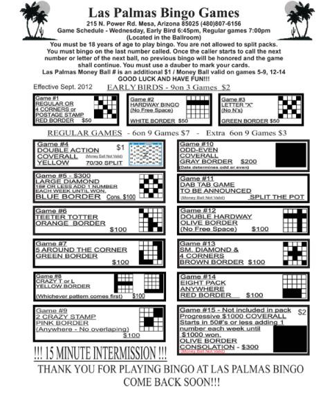 Las Palmas Bingo Games